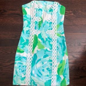 Perfect Lilly Pulitzer Strapless Dress Blue Green